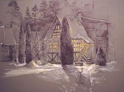 Нина Панюкова Новогодняя ночь 27х39 картон ручка акрил