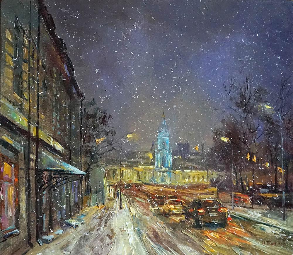 "Нина Панюкова ""Снежный вечер на Яузской улице""."