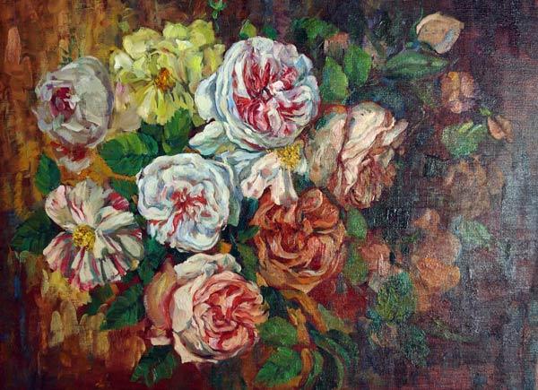 Нина Панюкова Розы. 50х60, х. м.
