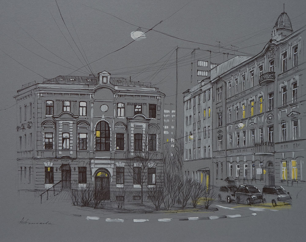 Нина Панюкова Прогулки по Москве Лялина площадь 45х55 картон акрил ручка тушь