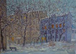 Александр Панюков Первый снег в родном дворе 30х40 х м