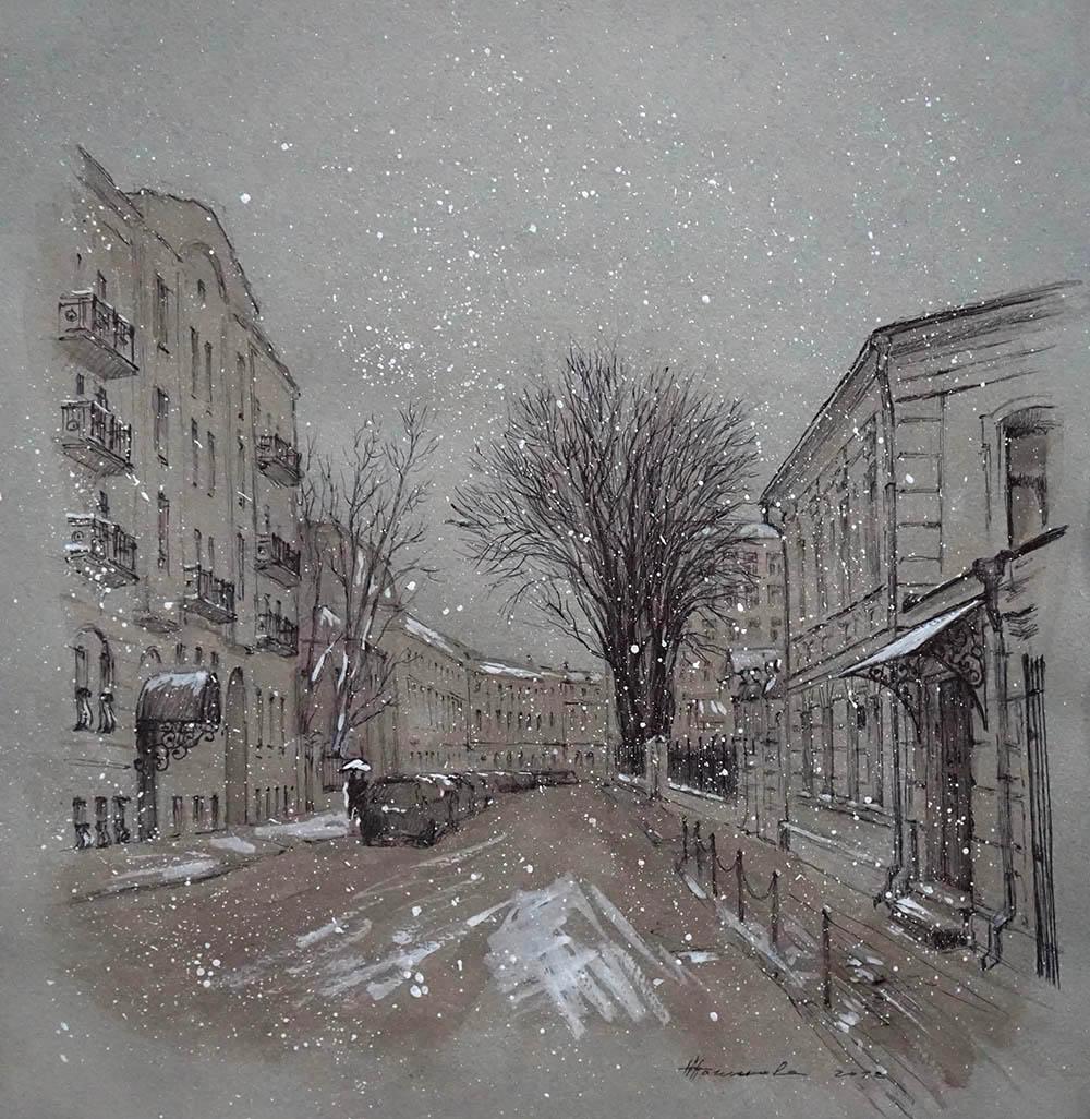 """Нина Панюкова """"Первые снежинки в Чистом переулке""""."""
