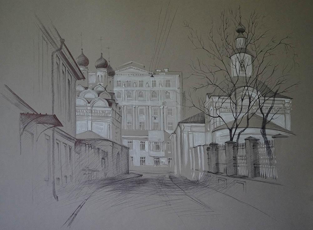 Нина Панюкова Замоскворечье Черниговский переулок бумага акрил ручка 41х54