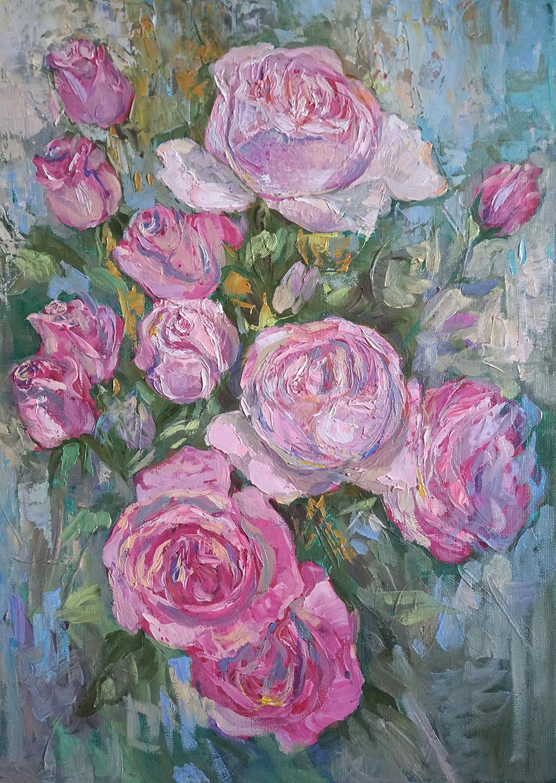 Нина Панюкова Розовые розы 50х35 х м