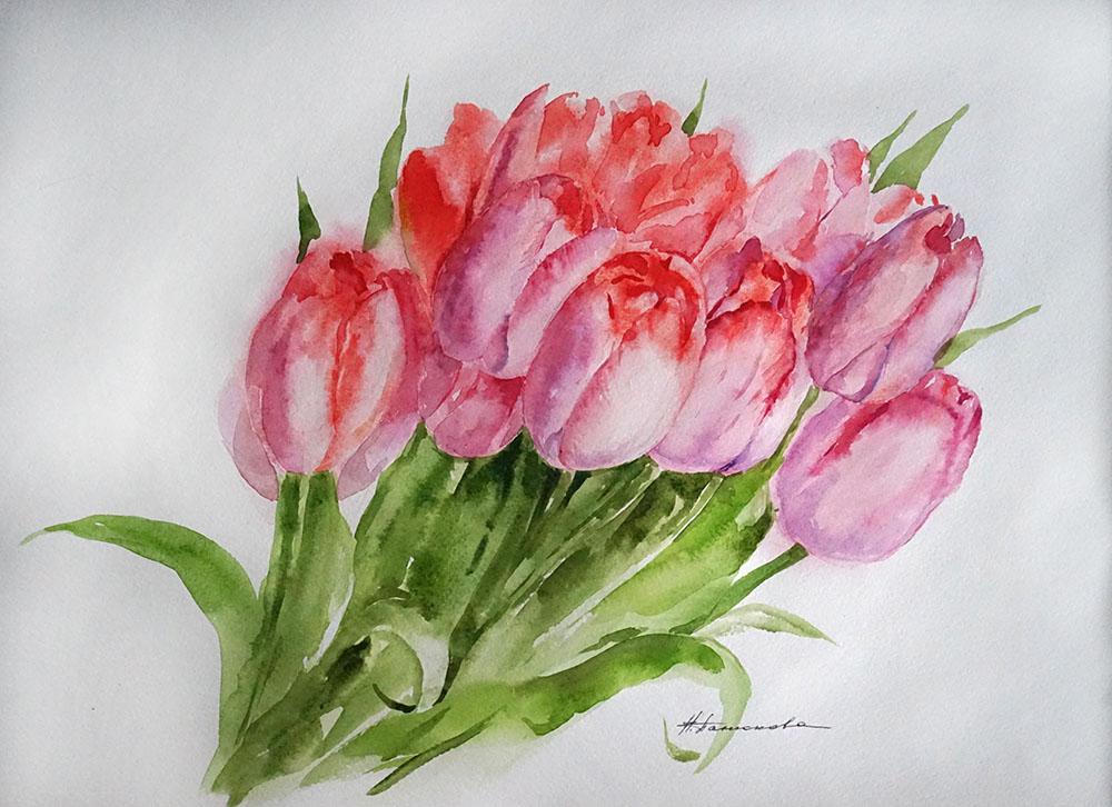 Нина Панюкова Тюльпаны 30х40 бумага акварель