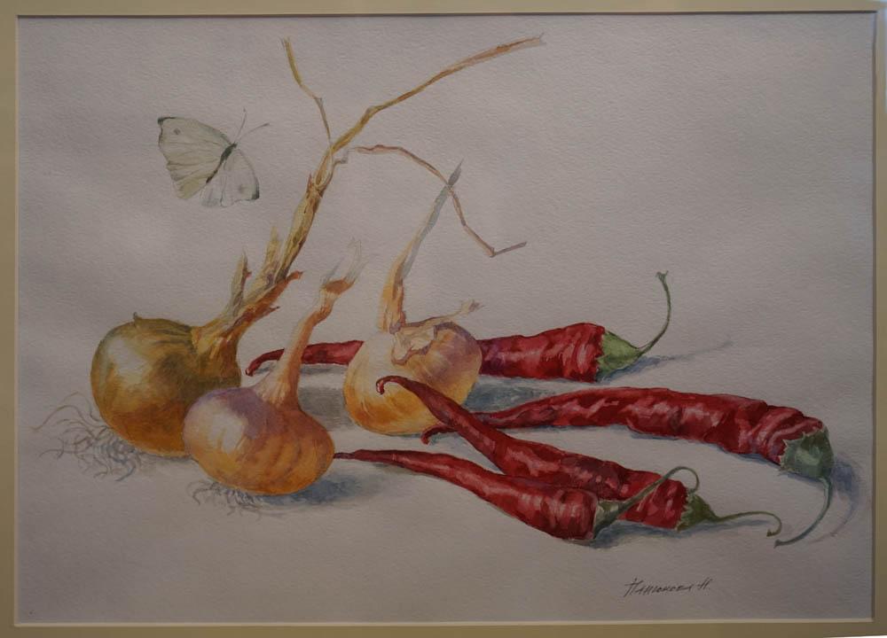 Нина Панюкова Перчик с луком акварель бумага 40х50