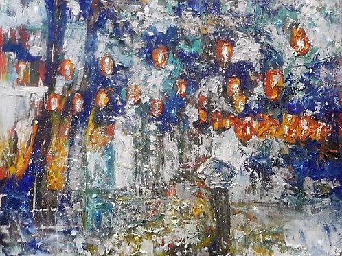 Снежные китайские фонарики