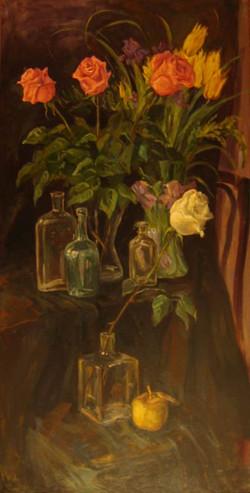 Нина Панюкова Розы на черном фоне. 120х62, х. м.