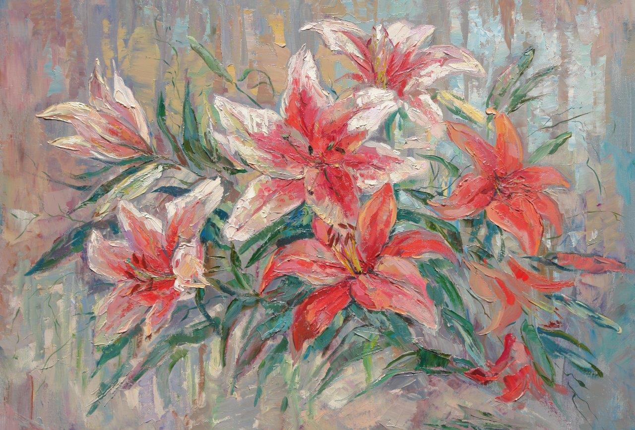 Нина Панюкова Лилии,х.м.60х80
