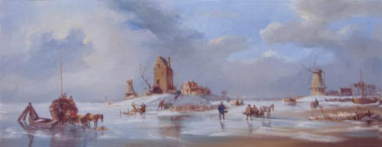 Александр Панюков Зимние забавы. 40х100, х. м.
