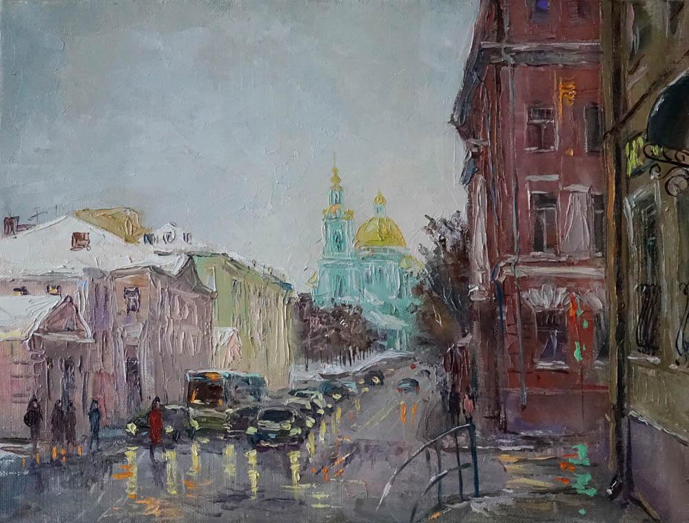 Нина Панюкова Вид с площади Разгуляй 30х40 х м