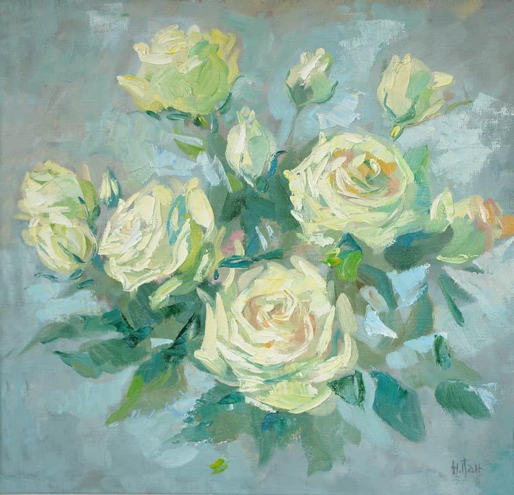 Нина Панюкова Жёлтые розы. 50х50, х. м.