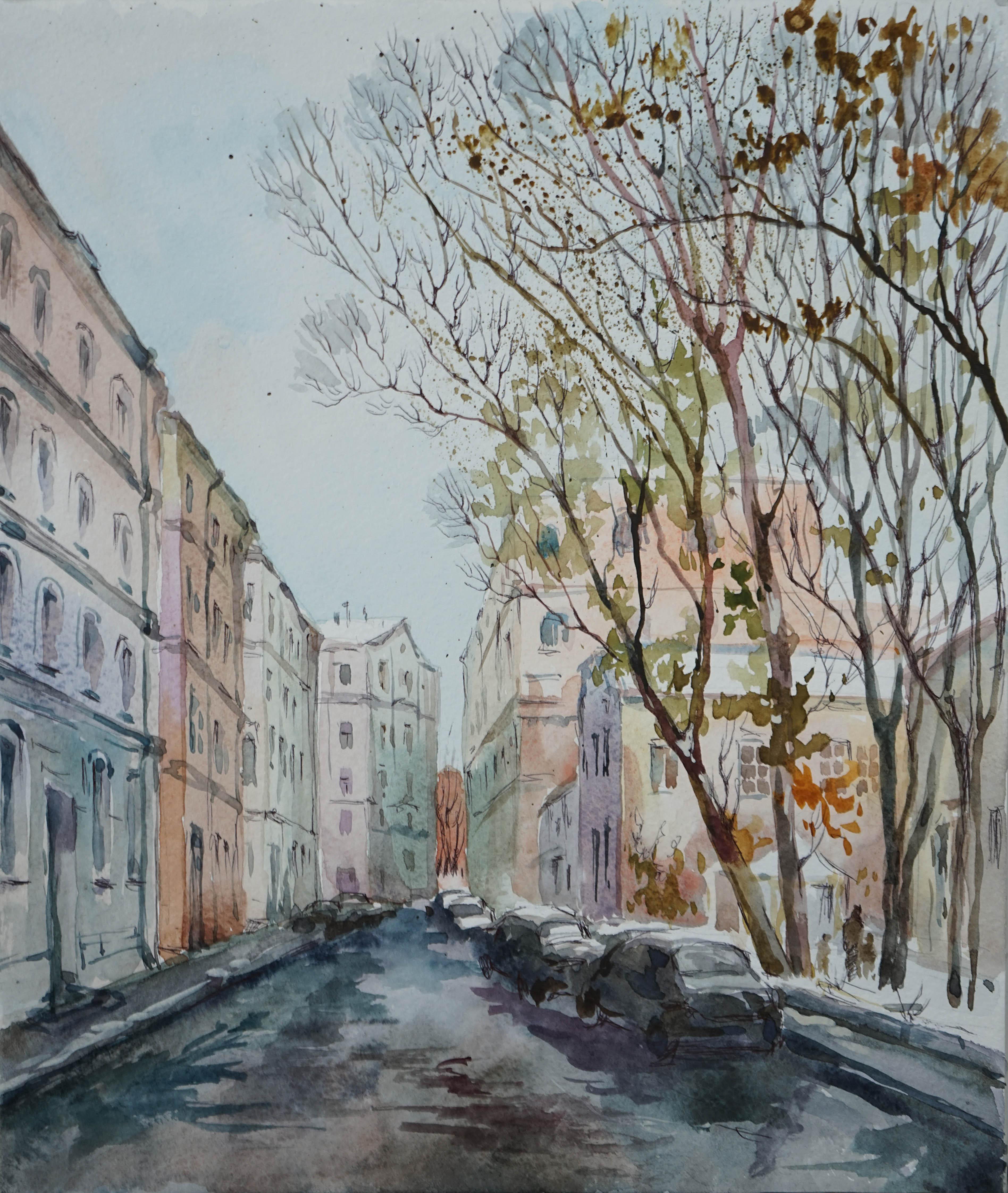 Нина Панюкова Кривоколенный переулок бумага акварель тушь 40х35