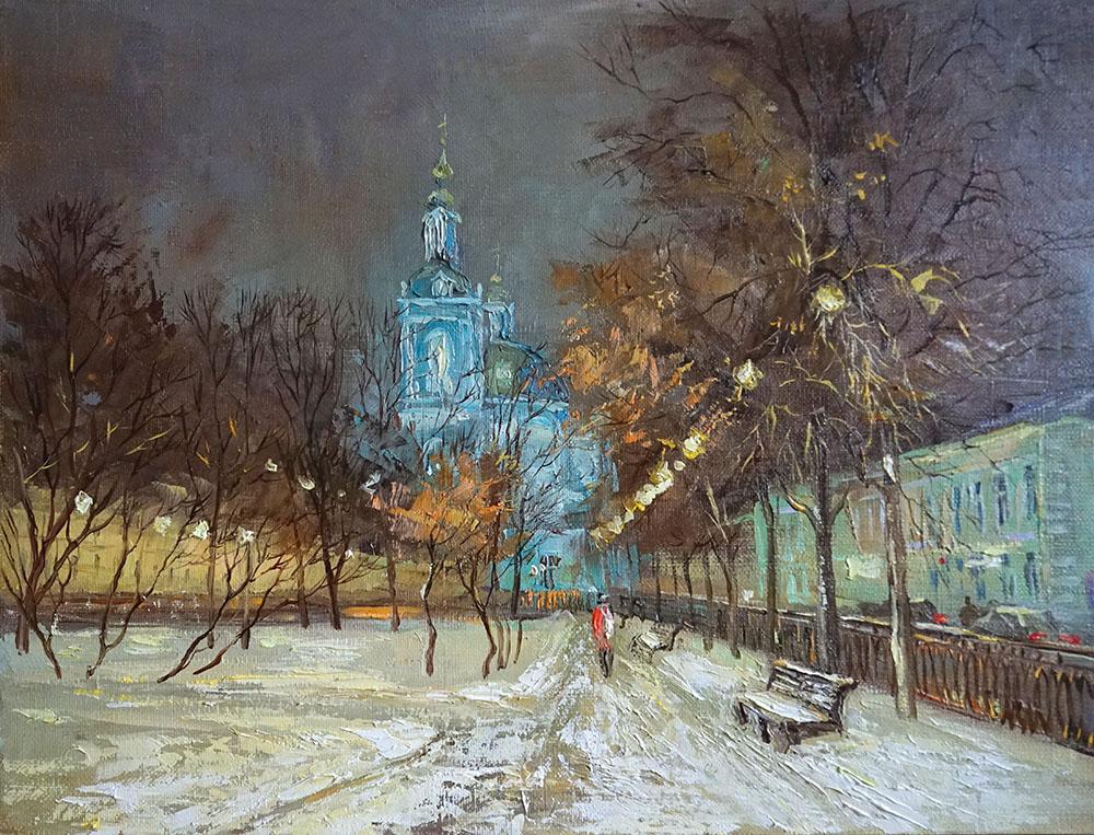 Нина Панюкова Зима на Елоховской площади 30х40 х м