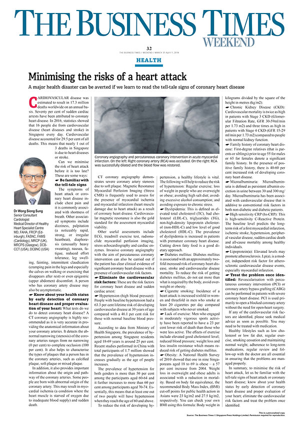 Minimising The Risk Of Heart Attack Busi