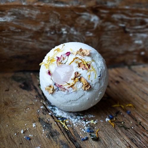 From Earth - Love Bath Bomb with Rose Quartz Crystal