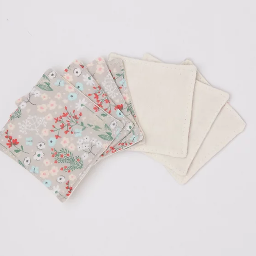 Reusable Make-up Wipes - Grey Floral