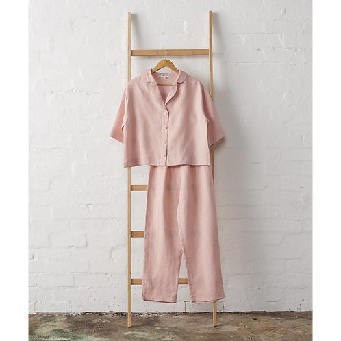 LINEN CROPPED BUTTON UP AND CLASSIC PANT SET IN DUSKY ROSE