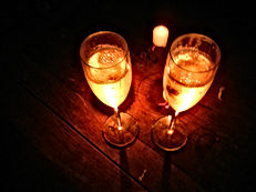 champagne in candlelight
