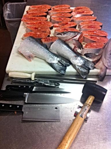 Cutting Salmon Steaks