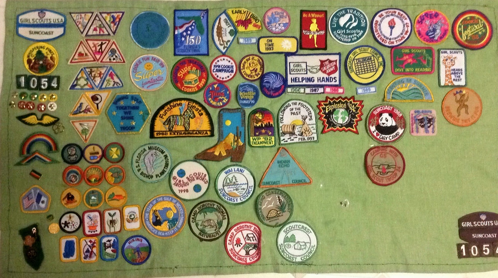 Various Brownie and Girl Scout badges and pins circa 1986-1997
