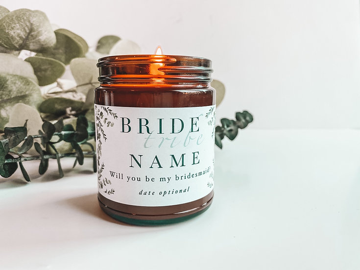 Bride Tribe Candle / Amber Glass Jar 9oz