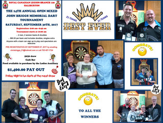 The Best Ever Registration with 21 Teams at the 14th Annual Open Mixed John Briggs Memorial Dart Tou