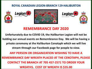 ORDERING A WREATH TO BE LAID AT THE HALIBURTON CENOTAPH FOR REMEMBRANCE DAY