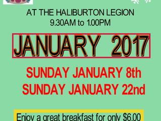 Sunday Breakfasts at the Haliburton Legion in January, 2017