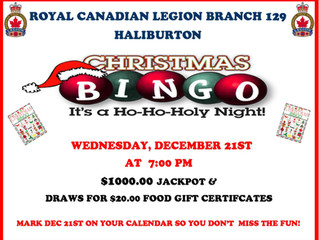Special Christmas Bingo Night is December 21st