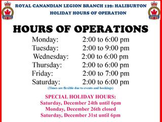 HALIBURTON LEGION HOLIDAY HOURS