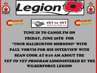 Tune in to Canoe FM on Friday, June 29th at 8:10 am for a great interview about the Vet to Vet progr