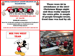 A great time was had by all at the Haliburton Legion Christmas Bingo 2017