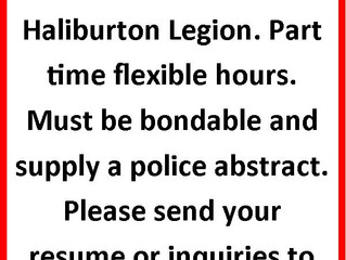 The Haliburton Legion is looking for a part time Cleaning Staff