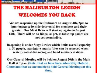 Haliburton Legion Welcomes You Back ~ Correction regarding General Meetings