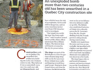 Danger UXB, An unexploded bomb in Quebec City