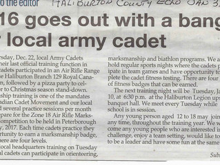 Update on the Haliburton Cadets