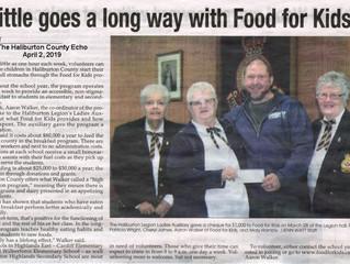 "The Haliburton Legion Ladies Auxiliary donate $1000 to the ""Food For Kids"" Program"
