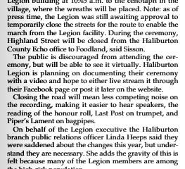 Remembrance Day article in the Haliburton County Life November 2020 by Darren Lum