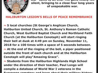 "The Bells of Peace Project organized by the Haliburton Legion.  Come and be part of a ""once in"
