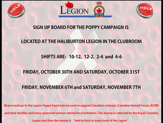THE HALIBURTON LEGION'S POPPY CAMPAIGN CHAIR, BRUCE MARTIN IS LOOKING FOR YOUR HELP!