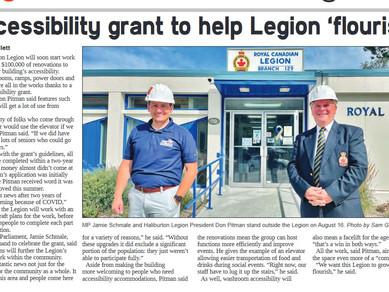 The Haliburton Legion thanks MP Jamie Schmale for his support.