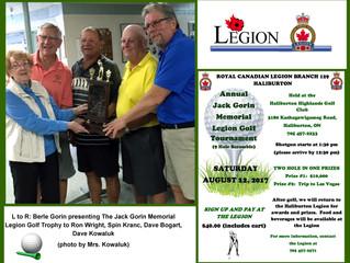 Annual Jack Gorin Memorial Legion Golf Tournament on Saturday, August 12, 2017