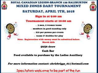 The Haliburton Legion comes in 2nd at the Mixed Zone Dart Tournament held at the Haliburton Legion o
