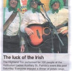 Thank you for supporting the Haliburton Legion Ladies Auxiliary St. Patrick Day Fundraiser