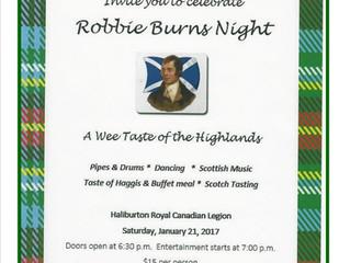 Robbie Burns Night at the Haliburton Legion on January 21st