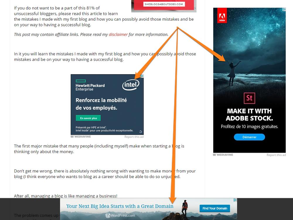 Foto de un blog con anuncios por todos lados de Google adsense