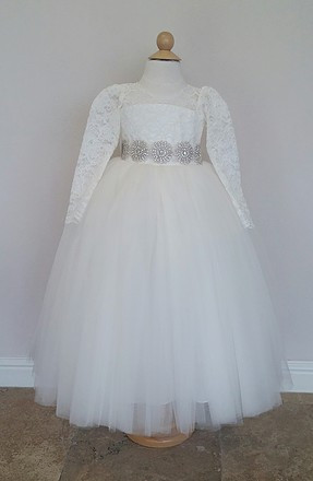 1debae8841 Long Sleeve Lace Bodice with Tulle Skirt Flower Girl Dress. Dress is by  special order and takes 4-6 weeks. Ask about expedited delivery.