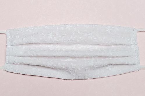 WHITE EYELET MASK W/ WHITE STRAPS