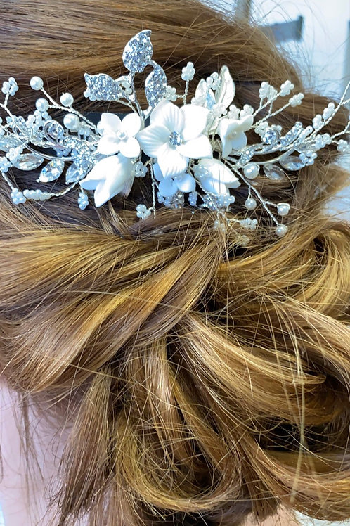 Silver Rhinestone & Pearl Spray Hairpiece 4607